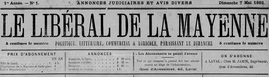 Photo (Bibliothèque municipale (Laval)) de : Le Libéral de la Mayenne. Laval, 1882-1893. ISSN 2131-2710.