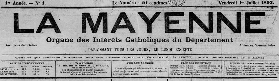 Photo (Bibliothèque municipale (Laval)) de : La Mayenne. Laval, 1892-1939. ISSN 2131-9553.