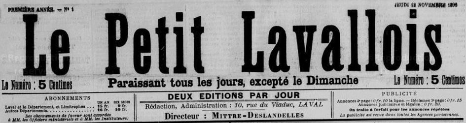 Photo (Bibliothèque municipale (Laval)) de : Le Petit Lavallois. Laval, 1896-1898. ISSN 2134-2296.