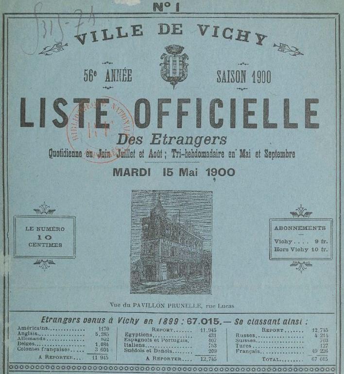 Photo (BnF / Gallica) de : Vichy. Liste officielle des étrangers. Cusset: Mme Jourdain, 1864-[1878 ?]. ISSN 1960-5021.