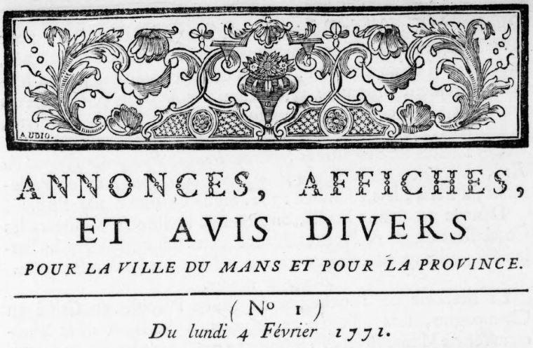 Photo (BnF / Gallica) de : Annonces, affiches et avis divers pour la ville du Mans et pour la province. Le Mans, 1771-1779. ISSN 1966-0324.