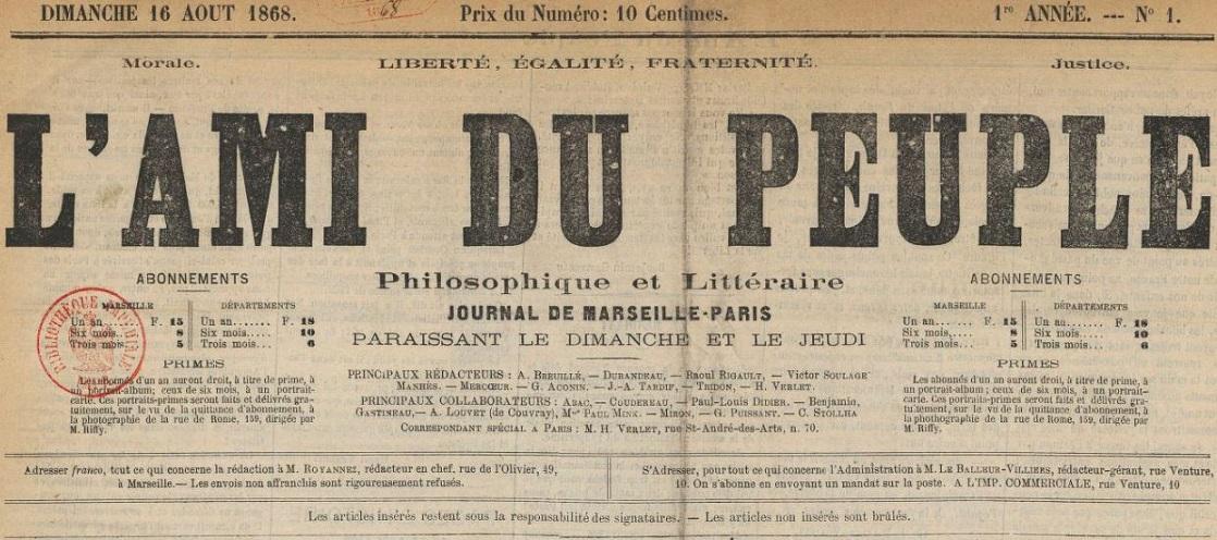 Photo (BnF / Gallica) de : L'Ami du peuple. Marseille, 1868. ISSN 2120-6902.