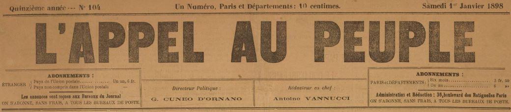 Photo (BnF / Gallica) de : L'Appel au peuple. Paris, [1896 ?-1900 ?]. ISSN 2120-9057.