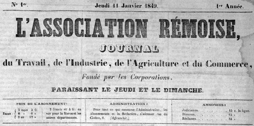 Photo (Bibliothèque de Reims) de : L'Association rémoise. Reims, 1849-1850. ISSN 2121-0683.