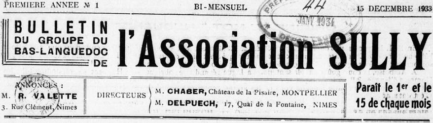 Photo (BnF / Gallica) de : Bulletin du Groupe du Bas-Languedoc de l'Association Sully. Nîmes: Groupe du Bas-Languedoc de l'Association Sully, Montpellier: Groupe du Bas-Languedoc de l'Association Sully, 1933-1937. ISSN 2023-9858.