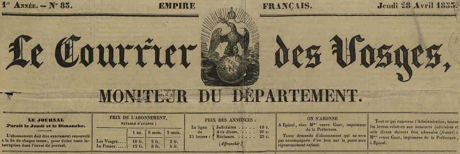 Photo (Bibliothèque intercommunale Épinal-Golbey) de : Le Courrier des Vosges. Épinal, 1852-1870. ISSN 2124-8508.