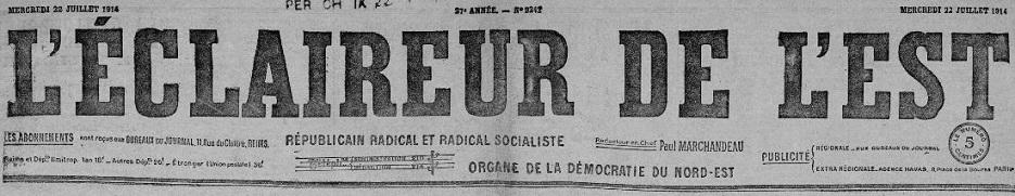 Photo (Bibliothèque de Reims) de : L'Éclaireur de l'Est. Reims, 1888-1944. ISSN 2020-3829.