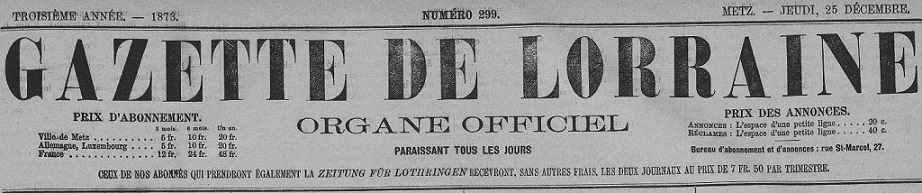 Photo (Metz. Bibliothèques-médiathèques) de : Gazette de Lorraine. Metz, 1872-1918. ISSN 2015-2205.