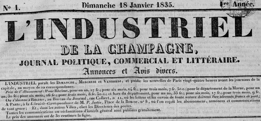 Photo (Bibliothèque de Reims) de : L'Industriel de la Champagne. Rheims, 1835-1853. ISSN 2129-8262.