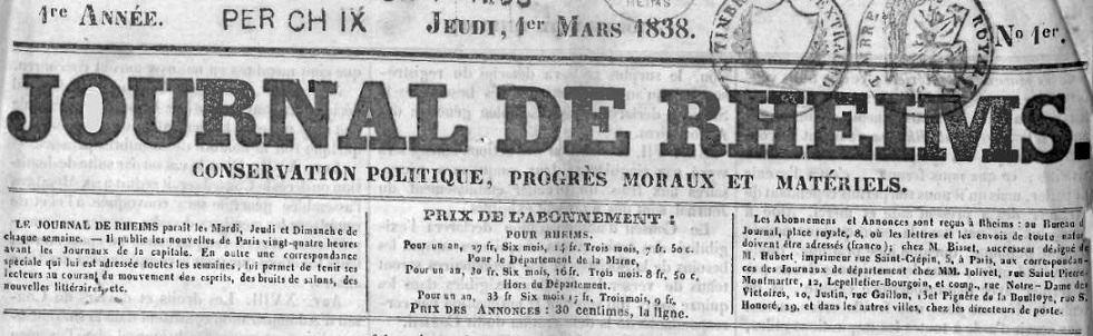 Photo (Bibliothèque de Reims) de : Journal de Rheims. Reims, 1838-1848. ISSN 2130-579X.