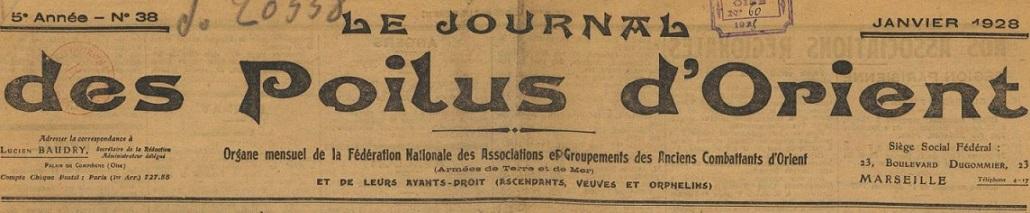 Photo (BnF / Gallica) de : Le Journal des poilus d'Orient. Marseille, 1928-[1936 ?]. ISSN 2130-7806.