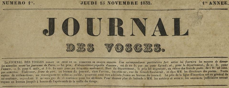 Photo (Bibliothèque intercommunale Épinal-Golbey) de : Journal des Vosges. Épinal, 1832-1874. ISSN 2130-8225.