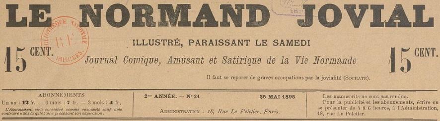 Photo (BnF / Gallica) de : Le Normand jovial. Paris, [1895 ?]. ISSN 2132-9389.