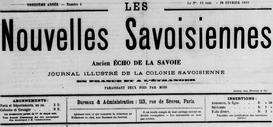 Photo (BnF / Gallica) de : Les Nouvelles savoisiennes. Paris, [1893 ?]. ISSN 2133-1243.