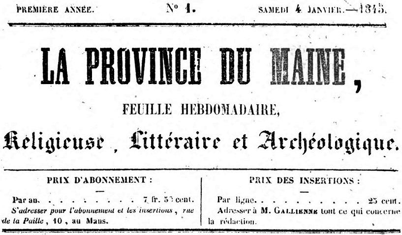 Photo (Bibliothèque municipale (Lyon)) de : La Province du Maine. Le Mans, 1845-[1849?]. ISSN 2135-653X.