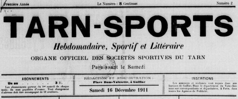 Photo (BnF / Gallica) de : Tarn-sports. Gaillac, 1911-[1912 ?]. ISSN 2138-5408.