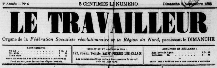 Photo (BnF / Gallica) de : Le Travailleur. Saint-Pierre-lès-Calais, 1883-[1883 ?]. ISSN 2138-8806.
