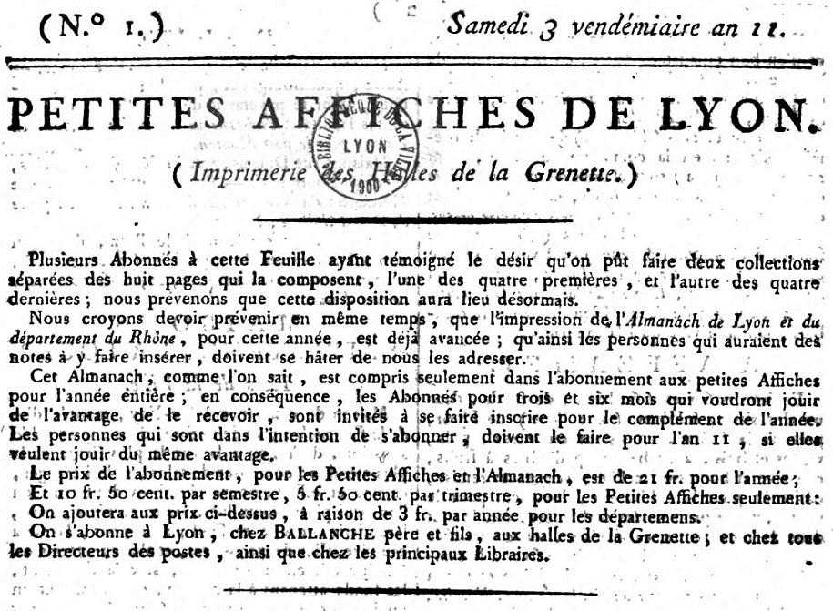 Photo (Bibliothèque municipale (Lyon)) de : Petites affiches de Lyon. Lyon: Impr. des Halles de la Grenette, 1801-1811. ISSN 1149-5715.