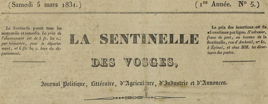 Photo (Bibliothèque intercommunale Épinal-Golbey) de : La Sentinelle des Vosges. Épinal, 1831-1833. ISSN 2138-0767.