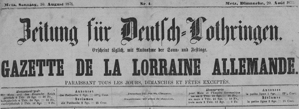 Photo (Metz. Bibliothèques-médiathèques) de : Zeitung für Deutsch-Lothringen. Metz, 1871-1872. ISSN 1963-5303.