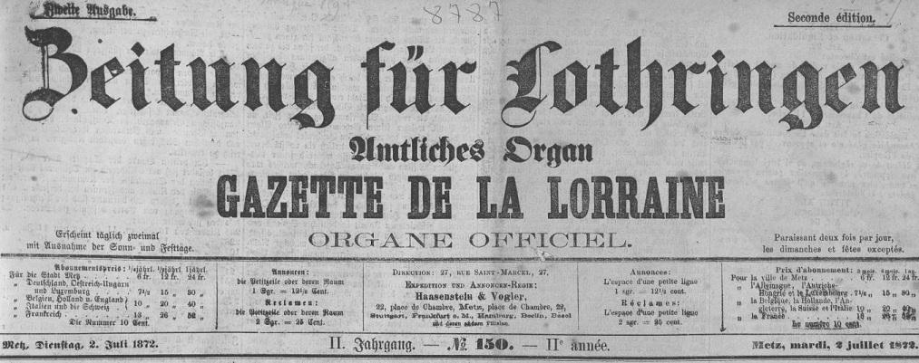 Photo (Metz. Bibliothèques-médiathèques) de : Zeitung für Lothringen. Metz, 1872-1877. ISSN 1963-5311.