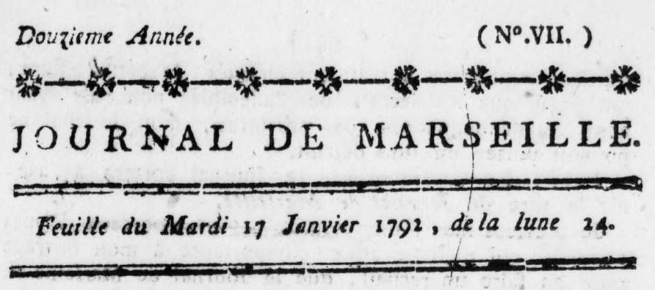 Photo (BnF / Gallica) de : Journal de Marseille. Marseille: impr. Pierre-Antoine Favet, 1792-1797. ISSN 2021-5207.