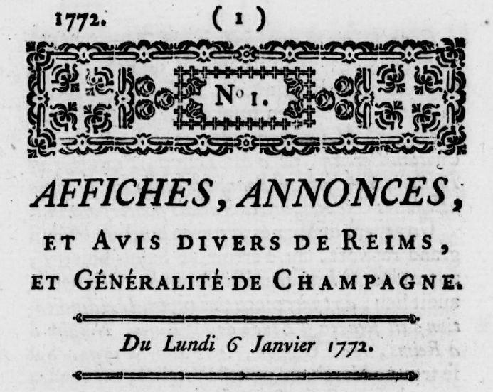 Photo (Bibliothèque de Reims) de : Affiches, annonces, et avis divers de Reims, et généralité de Champagne. Reims, 1772-1780. ISSN 2021-1937.