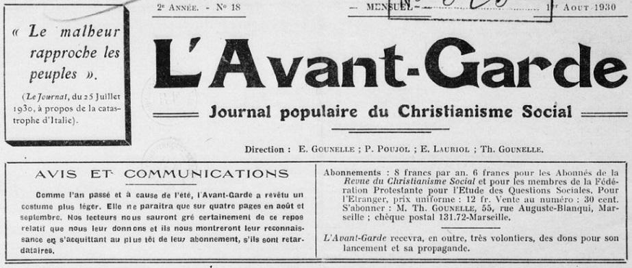 Photo (BnF / Gallica) de : L'Avant-garde. Marseille, 1929-1941. ISSN 1153-9461.
