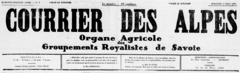 Photo (BnF / Gallica) de : Courrier des Alpes. Chambéry, 1929-[1931 ?]. ISSN 2124-8338.