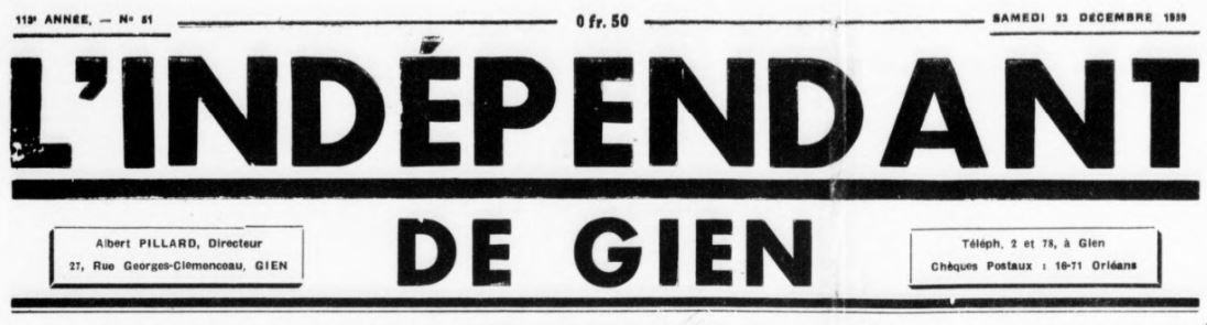 Photo (BnF / Gallica) de : L'Indépendant de Gien. Gien, 1872-1940. ISSN 2129-5034.