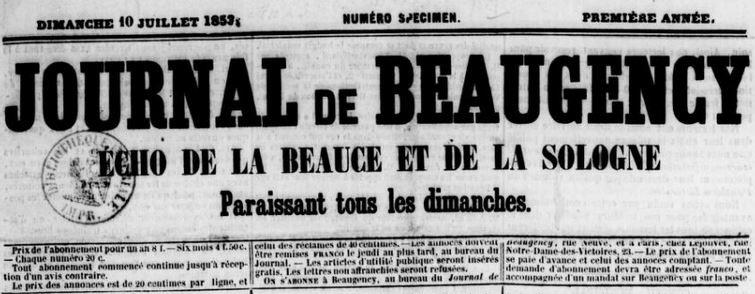 Photo (BnF / Gallica) de : Journal de Beaugency. Beaugency: Gasnier, 1853-1866. ISSN 2130-2561.