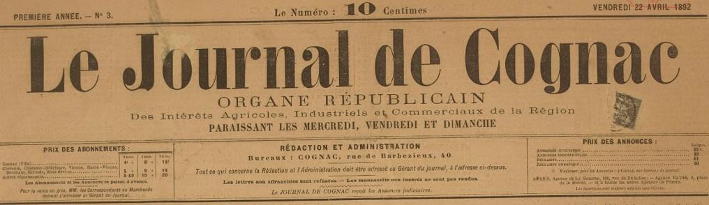 Photo (BnF / Gallica) de : Le Journal de Cognac. Cognac, 1892-1893. ISSN 1966-4796.