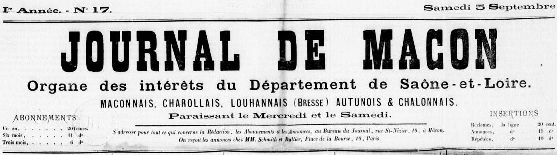 Photo (BnF / Gallica) de : Journal de Mâcon. Mâcon, 1868-1871. ISSN 2130-5099.