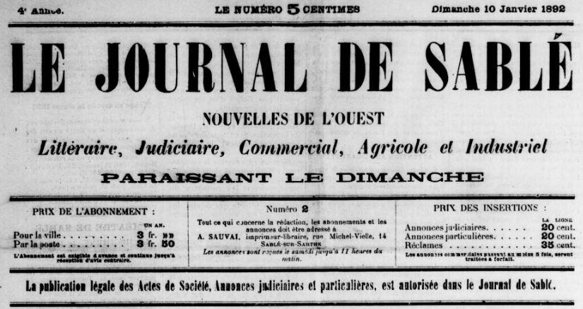 Photo (BnF / Gallica) de : Le Journal de Sablé. Sablé-sur-Sarthe, 1889-1944. ISSN 2130-5943.
