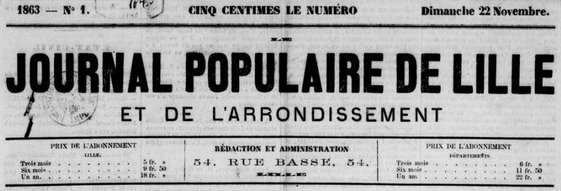 Photo (BnF / Gallica) de : Journal populaire de Lille et de l'arrondissement. Lille, 1863-1865. ISSN 2131-0114.