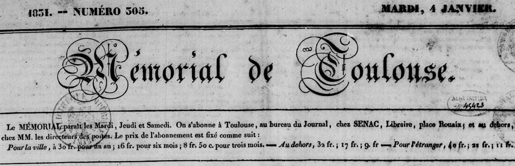 Photo (BnF / Gallica) de : Mémorial de Toulouse. Toulouse, 1829-1831. ISSN 2020-4000.