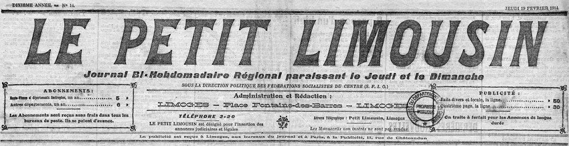Photo (Creuse. Archives départementales) de : Le Petit Limousin. Limoges, 1909-1944. ISSN 2134-2385.