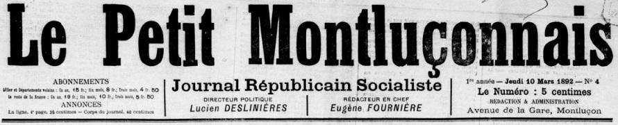 Photo (BnF / Gallica) de : Le Petit Montluçonnais. Montluçon, 1892-1895. ISSN 2134-3047.