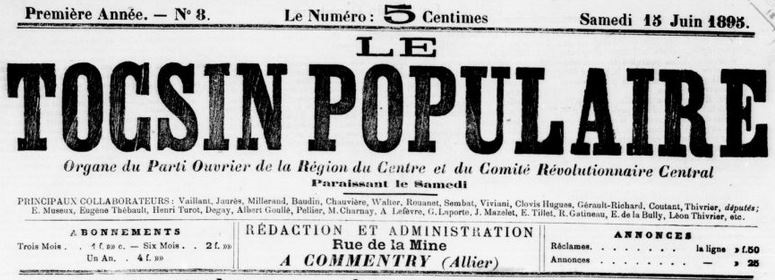 Photo (BnF / Gallica) de : Le Tocsin populaire. Commentry, 1895-1903. ISSN 2138-6633.