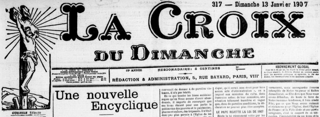 Photo (BnF / Gallica) de : La Croix du dimanche. Paris: Bonne Presse, 1889-1971. ISSN 1141-2747.