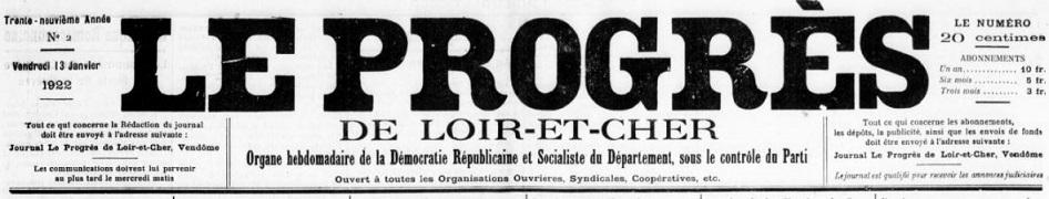 Photo (BnF / Gallica) de : Le Progrès de Loir-et-Cher. Blois, 1891-1939. ISSN 2135-4103.