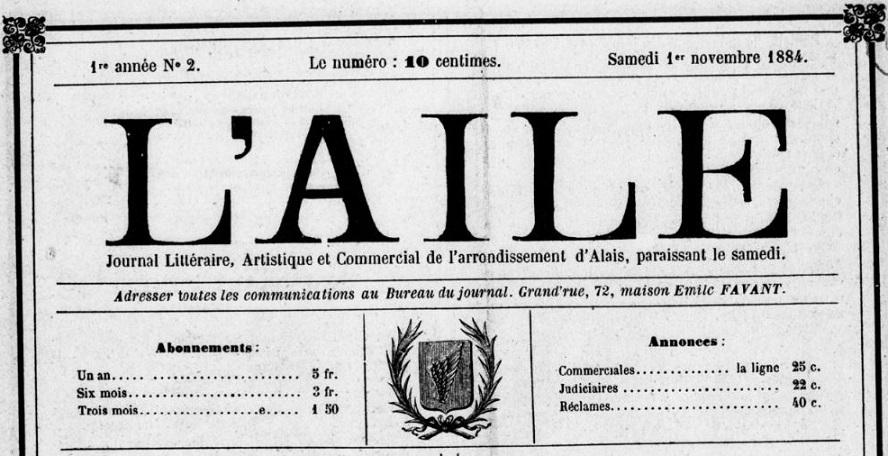 Photo (BnF / Gallica) de : L'Aile. Alais, 1884. ISSN 2120-4977.