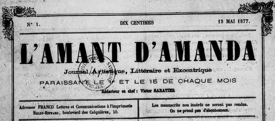 Photo (BnF / Gallica) de : L'Amant d'Amanda. Nîmes, 1877. ISSN 2120-6155.