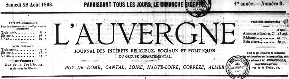 Photo (Auvergne-Rhône-Alpes livre et lecture) de : L'Auvergne. Clermont-Ferrand, 1868-1870. ISSN 1261-6214.