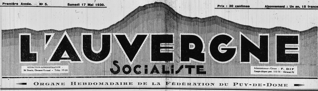Photo (Auvergne-Rhône-Alpes livre et lecture) de : L'Auvergne socialiste. Clermont-Ferrand, 1930-1940. ISSN 2121-1825.