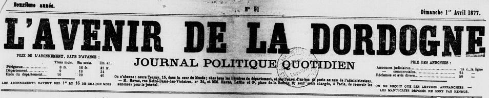 Photo (Archives départementales de la Dordogne) de : L'Avenir de la Dordogne. Périgueux, 1876-1944. ISSN 2025-3931.