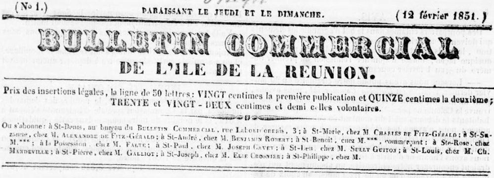 Photo (BnF / Gallica) de : Bulletin commercial de l'île de La Réunion. Saint-Denis, 1851. ISSN 2428-3320.