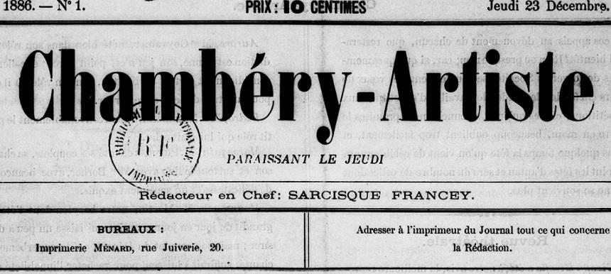 Photo (BnF / Gallica) de : Chambéry-artiste. Chambéry, 1886-[1887 ?]. ISSN 2123-6119.