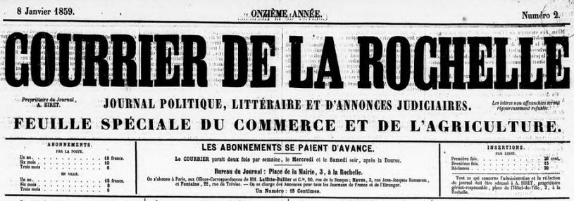 Photo (BnF / Gallica) de : Le Courrier de la Rochelle. La Rochelle, 1856-1941. ISSN 2124-7609.