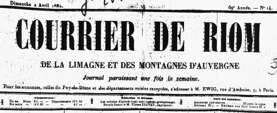 Photo (Auvergne-Rhône-Alpes livre et lecture) de : Courrier de Riom, de la Limagne et des montagnes d'Auvergne. Riom, 1874-1886. ISSN 2124-7994.